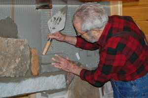 Dad working on Museum fireplace